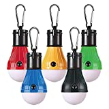 PEMOTech [5 Pack Camping Light Tent LED Light, Waterproof Tent LED Light Bulb Portable Battery Operated Emergency Light Lamp Lantern for Outside Camping Outdoor Hiking Fishing Hunting Mountaineering
