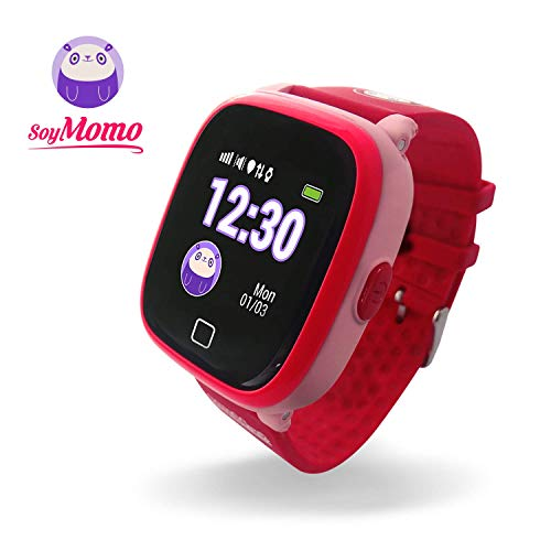SoyMomo Reloj GPS Niño, Modelo H2O, botón SOS, Llamadas, Mensajes de voz, podómetro, utiliza su propia simcard, resistente al agua IP67, Reloj inteligente para niños, rastreador GPS LBS, pulsera inteligente niños, aplicación compatible con IOS / Android. Color Rosado