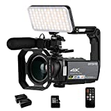 ORDRO 4K Camcorder IR Night Vision 4K Video Camera 1080P 60FPS Digital WiFi Camera Recorder with External Microphone, LED Light, Camera Holder, Wide Angle Lens, Remote Control and 32GB SD Card
