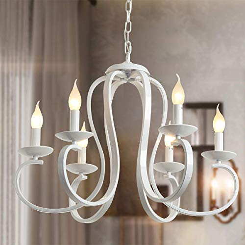 Ganeed Lampadario country francese, lampadari bianchi a candela a 6 luci, lampadario a sospensione vintage in metallo lampadario a sospensione per tavolo da pranzo, cucina a isola, soggiorno