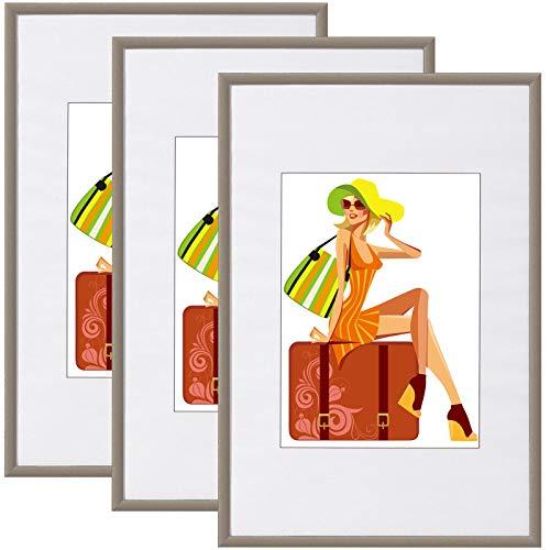WOLTU BR9864st-3 Bilderrahmen 3er Set mit Passepartout Kunststoff Rahmen, Glasvorderseite, Stahl, 30x40 cm