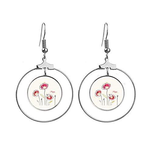 Bloemen Plant Papaver Decoratie Schilderij Oorbellen Dangle Hoop Sieraden Drop Cirkel