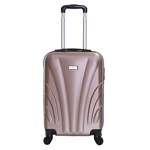 Slimbridge Hard Cabin Hand Carry-on Suitcase Luggage Bag 55 cm 2.5 kg 35 litres 4 Wheels Number Lock, Ferro Champagne