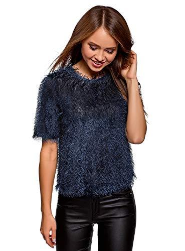 oodji Ultra Damen Zottel-Bluse mit Tropfen-Ausschnitt am Rücken, Blau, DE 38 / EU 40 / M