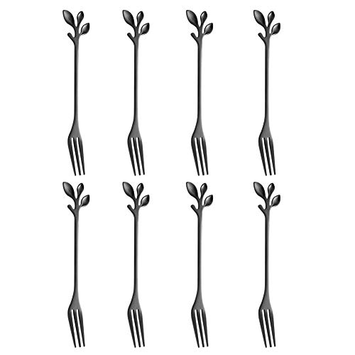 Hieefi Dessert Gabel, Kuchengabeln, Kuchen-Frucht-Gabel Mini Griff Gabel-Edelstahl-küchenzubehör Mit Blatt-Form Für Heim-Party-schwarz 8pcs