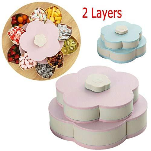 WMX Genießen Sie Life-Bloom Snack Box, Flower Rotating Candy Box Trockenobstteller (Pink)
