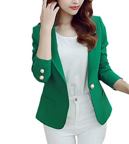 Blazer Mujer Elegante Negocios Manga Larga Chic Slim Fit Moda Tallas Grandes Chaqueta De Traje Color Sólido Dama