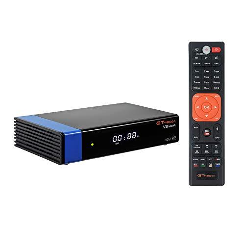GT Media V8 Nova DVB-S2 Decodificador Satélite Receptor de TV Digital con Wi-Fi Incorporado/SCART / 1080P Full HD/FTA Soporte CC CAM, PVR Ready, Newcam, Youtube, PowerVu Dre Biss Clave
