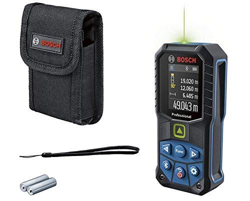 Bosch Professional medidor láser GLM 50-27 CG (láser verde, alcance: hasta 50m, robusto, IP65, transferencia de datos mediante Bluetooth, 2 pilas AA, correa de sujeción, estuche)