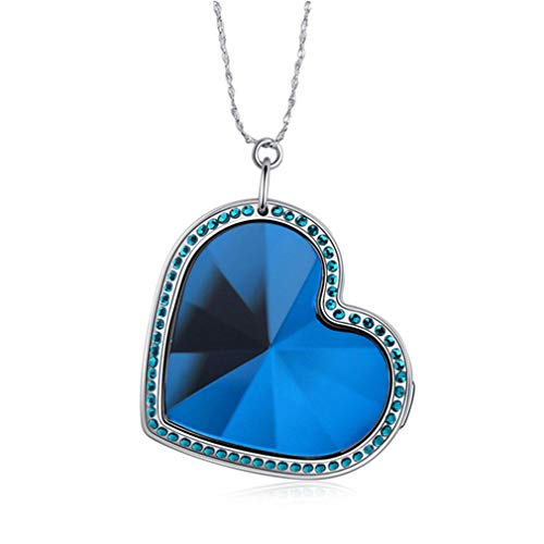 YMQMYZ Heart Shaped GPS Tracker Halskette SOS-Anti-verlorene Anhänger 925 Silber Anhänger Mini Echtzeit-Tracking-GPS Locator,Blau
