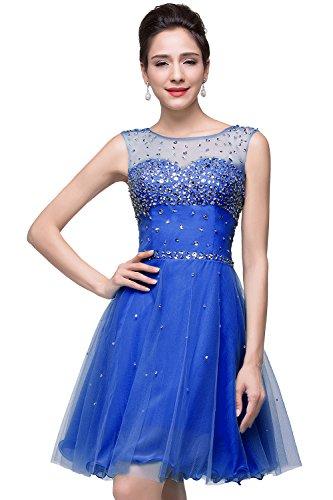 MisShow Damen Ballkleider Mini A Linie Perlenstickerei Abendkleider Brautjungfernkleider Festkleid Partykleid Royalblau 32