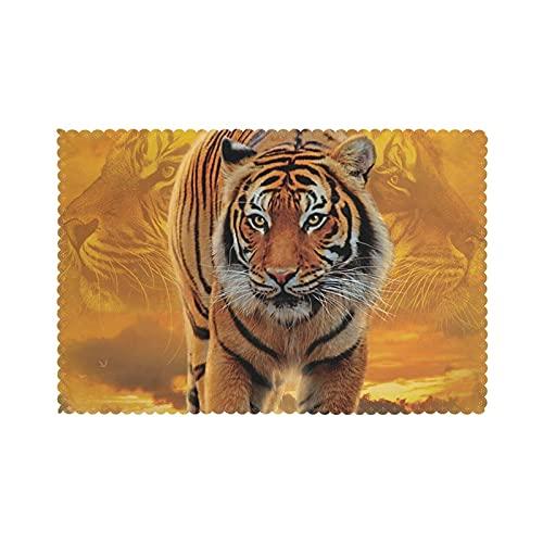 WANGJINGHUA Manteles Individuales Rising Sun Tiger Print Juego de 4 manteles Individuales Lavables Resistentes al Calor para Mesa de Comedor 30X45CM
