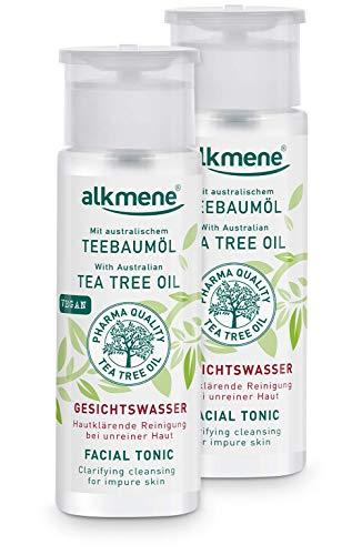 alkmene Teebaumöl Gesichtswasser für unreine Haut - Anti Pickel, Hautunreinheiten & Rötungen - vegane Gesichtsreinigung ohne Silikone, Parabene & Mineralöl im 2er Pack (2x 150 ml)