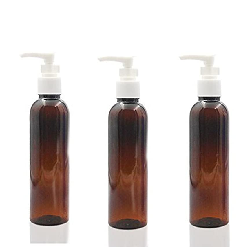 に向かってポーズ主張3PCS 150ml Plastic Round Pump Bottles for Cooking Sauces Essential Oils Lotions Liquid Soaps or Organic Beauty Products (Brown) [並行輸入品]
