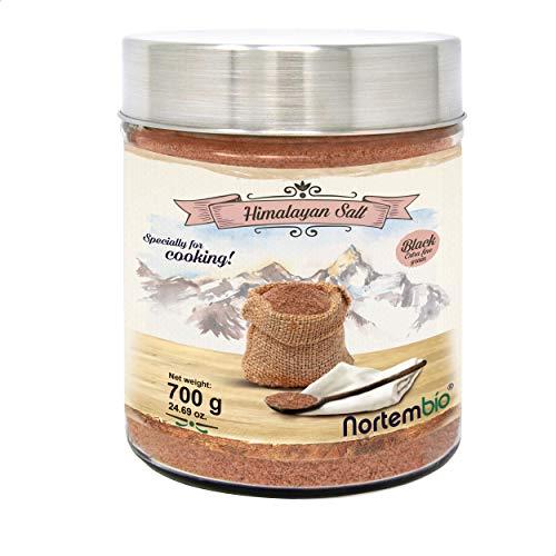 Nortembio Schwarze Himalaya-Salz 700g. Extra Feinkorn (0,5-1 mm). Kala Namak. 100% Natürliches Salz. Charakteristischer Eigeschmack. Unraffiniert. Ohne Konservierungsstoffe. Aus Punjab Pakistan.