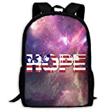 XCNGG Sac à dos d'impression plein cadre adulte Sac à dos décontracté Sac à dos Cartable USA Hope Large Capacity Travel Computer Backpack, Adult Printed Backpack, Portable Multifunctional Student Back