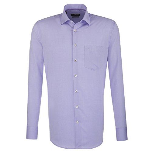 Seidensticker Herren Langarm Hemd Splendesto Regular Fit French Kent Collar lila/Flieder strukturiert 189646.82 (53, Flieder Uni (0082))