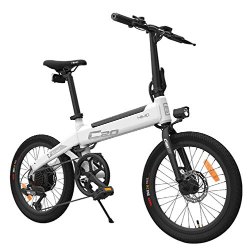 HIMO C20 Bicicleta eléctrica con manillar plegable, faros, 250 W, 10 Ah, 80 km de potencia, 3 modos, bicicleta eléctrica con tracción auxiliar para adultos, color blanco