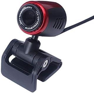 ZengBuks USB2.0 HD Cámara Web Cámara Web Cámara Web con micrófono para computadora PC Portátil Cámara de Video Digital HD Cámara práctica - Negro + Rojo