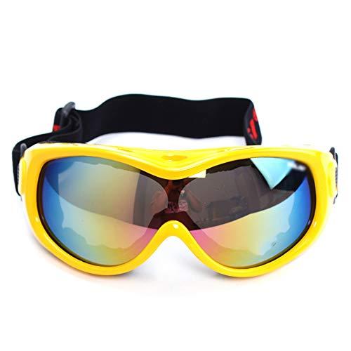 Skibrille - Schneebrille, über welches die Gläser Snowboardbrillen Anti-Fog Shatterproof Staubdichtes 100% UV-Schutz for Kinder Ski (6-13 Jahre) (Color : Yellow)