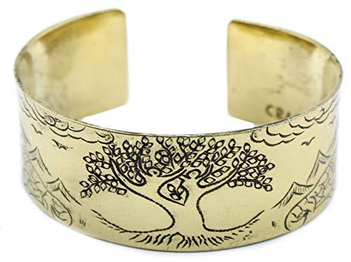 Ancient Wisdom Brass Tibetan Mantra Bracelet - Tree of Life