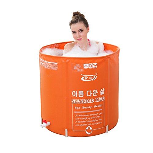 Baignoire Pliable Gonflable En Plastique Baignoire Adulte Enfants Seau De Bain Bubble Durable Dirt/réglable en hauteur/Facile à Plier Orange (70 * 70cm) (Couleur : Capping)