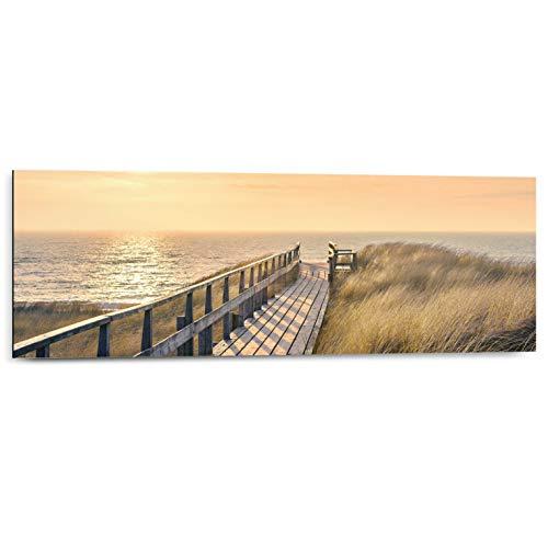 Schilderij Deco Panel Strandpad Strand - Duinen - Zonsondergang - Zee - 90 x 30 cm