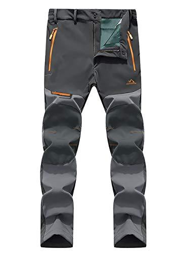 EKLENTSON Winter Pants Men Windproof Climbing Hiking Trousers Fleece Lined Breathable Mountain Trousers Dark Grey