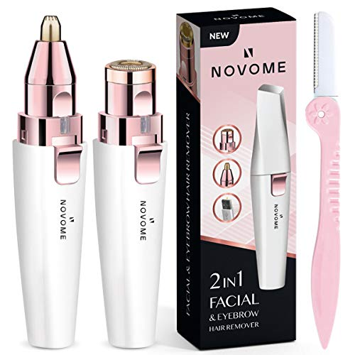 NOVOME 2in1 New USB Rechargeable Facial Hair Remover For Women & Eyebrow trimmer- with Built-in LED Light-Remove Pain-Free For Facial Hair And Eyebrows, Arm, Thigh, Leg and Bikini hair