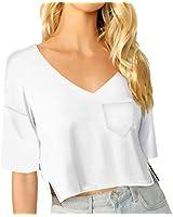 Women's Casual Short Sleeve V Neck T-Shirt Tees Tops (White, Medium)