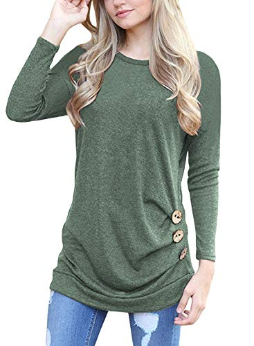Muhadrs Women's Fashion Long Sleeve Round Neck Solid Loose Tops Green XL