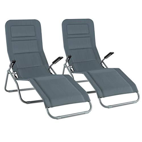 blumfeldt Vitello Noble Grey Liegestuhl - 2-er Set, Dreamteam Edition, Sonnenliege, Polsterung aus Quick Dry Foam, ergonomisch, klappbar, viel Platz, robust, witterungsbeständig, bis 150 kg, grau