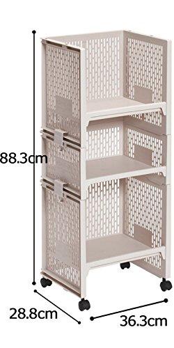 サンコープラスチックランドセルラック3段幅36.3×奥28.8×高88.3cmベージュ