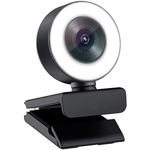Webcam De Alta Definición (con Micrófono Y La Luz del Anillo) USB Pro Ordenador Mac 1080P Cámara Web (para Mac) De Windows Juego Portátil Skype OBS Twitch Youtube Xsplit Streaming De Vídeo