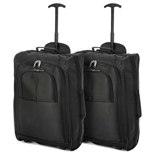 EONO Essentials Lightweight 21' Cabin Luggage Travel Wheely Suitcase Wheeled Trolley Bag, Approved for Ryanair, easyjet, British Airways and More, Set of 2, Black … (2X Black)