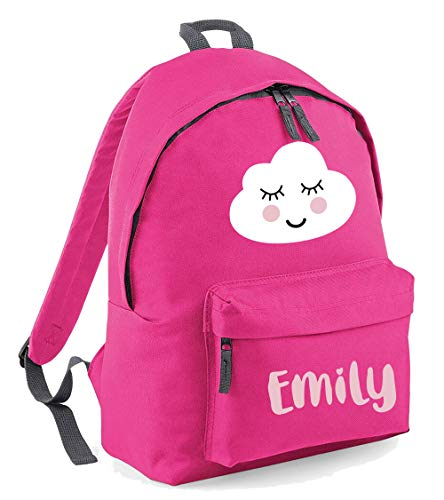 Smiling Cloud Custom Name Bag - Personalised Girls Backback Perfect for School Nursery Or College Rucksack BackpackCustom Name School Bag Girl (Bright Pink, Junior)