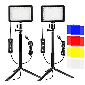 5600K Luz LED de Video 2-Pack, Luz Fotografia, Bonvvie Luz de Cámara Regulable USB con Trípode Ajustable y Filtros de Color para Tomas de ángulo Bajo, Iluminación de Videoconferencia, Zoom, Youtube