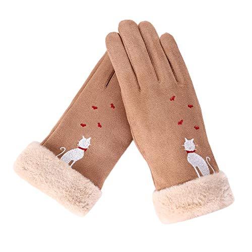 Guantes Guantes Guantes de mujeres de la manera del corazón del amor del invierno del gato bordado mantener el calor dedo guantes guantes de invierno completa Guantes de equitación al aire libre Guant