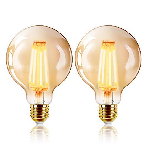 ExtraStar Edison Vintage Glühbirne, G95 E27 LED Filament Lampe, 6W Ersetzt 48W Glühlampe, 540 LM, 2200K Warmweiß, Amber Glas, Nicht Dimmbar, 2 Stück