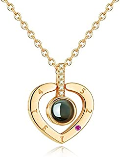 arrive Gold Heart-shaped S925 sterling silver projection 100 languages I love you Charm pendant necklace for women choker
