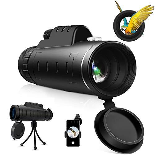 Telescopio monoculare, HautStore 40x60 HD BAK4 potente canocchiale monoculare per bird watching, caccia, campeggio, escursionismo, viaggi con adattatore e treppiede