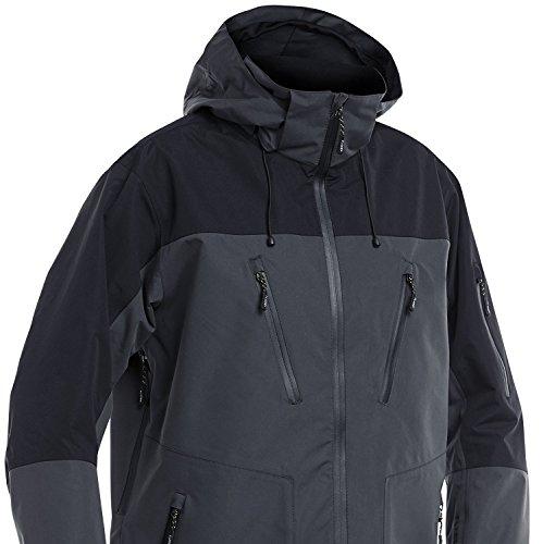 Fladen Anglerjacke, vollständig wasserdicht und winddicht, Outdoor-Jacke, in Grau/Schwarz–ideal für Angeln, Jagd und ähnliche Zwecke XXL Grau / Schwarz