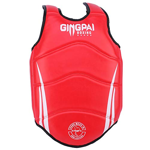 GINGPAI BOXING Chest Protector MMA Sanda Chest Guard TKD Martial Arts Muay Thai Armour Target Training Kickboxing (RED, S)