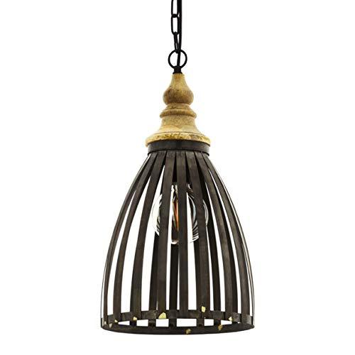 EGLO Pendelleuchte Oldcastle, 1 flammige Hängelampe Industrial, Vintage, Retro, Hängeleuchte aus Stahl, Holz in schwarz, Braun, Esstischlampe, Wohnzimmerlampe mit E27 Fassung, Ø 25,5 cm