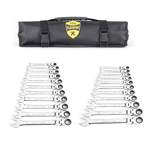 22-Piece Flex-Head Ratcheting Wrench Set,Metric & SAE Chrome Vanadium Steel Hand Combination Wrench Spanner with Portable Carrying Bag (Flex Head Ratchet Wrench)