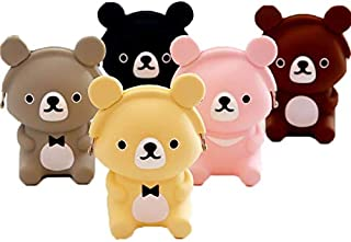 Homies International, 1 Piece,Teddy Bear Shape, Cute Multi-use Silicon Travel Coin Purse, Bag, Pouch Slide in Handbag. (Multi-Design Multi-Color, Sent as per Availability)
