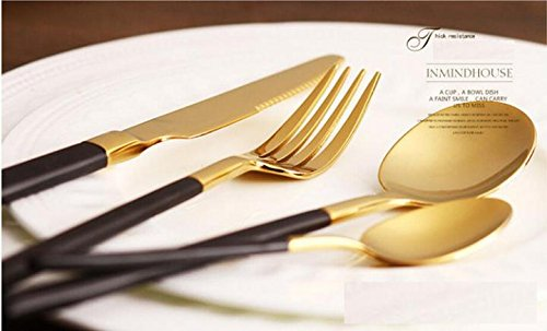 48 Pieces Stainless Steel Flatware Set Knife Fork Dinner Soup Spoon Dessert Tea Server for Home Kitchen Restaurant Hotel ( Black + Gold)