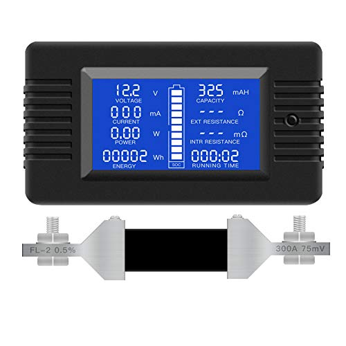 DC Multifunction Battery Monitor Meter,0-200V,0-300A (Widely Applied to 12V/24V/48V RV/Car Battery) LCD Display Digital Current Voltage Solar Power Meter Multimeter Ammeter Voltmeter