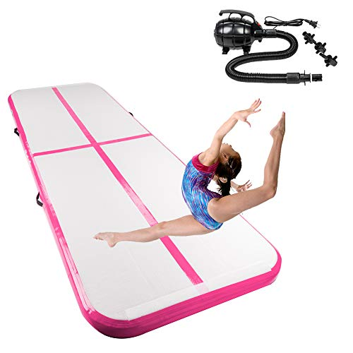 Matladin 10'x3.3' Gymnastics Exercise Mat Inflatable Tumbling Mats, Tumble Track with Electric Pump for Home use, Gymnastics Training, Beach, Yoga, Water (Pink)