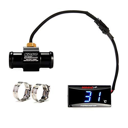 WSGGFA Temperatura de la Motocicleta de KOSO Agua Temperatura Mini medidor for XMAX250 300 NMAX CB 400 Agua Sensor CB500X Adaptador Moto y Racing (Color : Temperatur Blue 22MM)